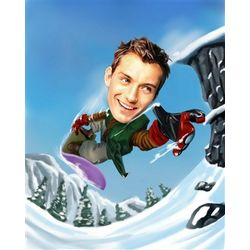 Snowboarder Caricature Print from Photo