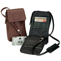 Bon Vivant Traveler Leather Pouch with Cushioned Strap
