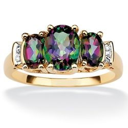 10k Gold Topaz Mystic and Diamond Accent Women's Ring