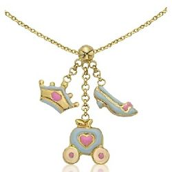 14k Gold Cinderella Necklace with Enamel Charm Dangles