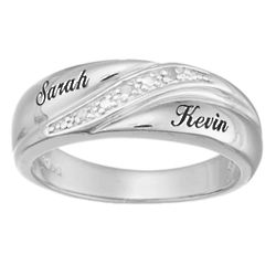 Sterling Silver Men's Diamond Accent Name Wedding Band