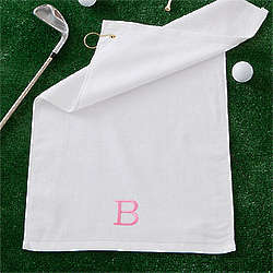 Ladies Personalized White Golf Towel with Initials