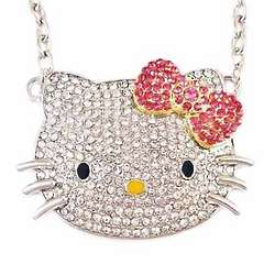 Hello Kitty Pink Bow Crystal Pendant Necklace