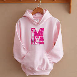 Girl's Personalized Pink Athletic Sweatshirt
