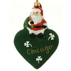 Chicago Santa Blown Glass Christmas Ornament