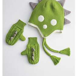 Dinosaur Hat and Mitten Set