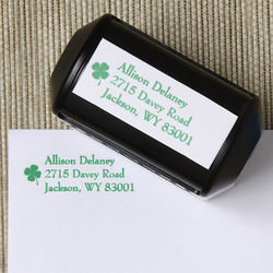 Emerald Border Address Rubber Stamper