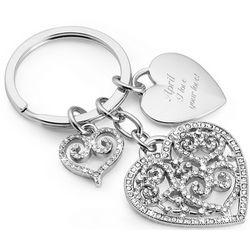 Pierced Heart Engraved Charm Key Chain
