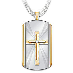 Son's Always With You Dog Tag Cross Pendant