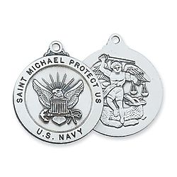 St. Michael Protect Us Sterling Silver Navy Pendant