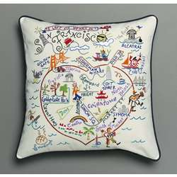 Hand Embroidered San Francisco Accent Pillow