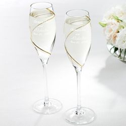 Gold Swirl Champagne Flutes