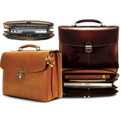 Triple Gusset Bella Russo 17 Inch Laptop Briefcase