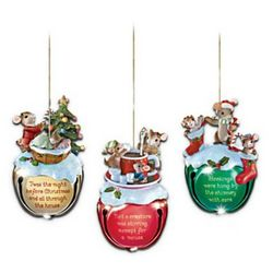 Charming Tails Jingle Bells Mouse Christmas Ornament Set