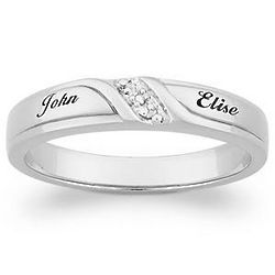 Platinum Plated Sterling Silver Couple's Diamond Wedding Ring