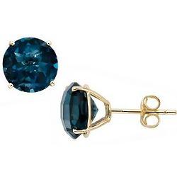 London Blue Topaz 14K Yellow Gold Stud Earrings