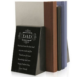 Personalized Black Marble Bookends for Dad