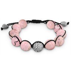 Natural Pink Bead Macrame Bracelet