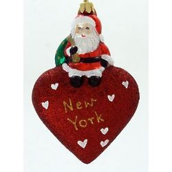 New York Santa Blown Glass Christmas Ornament