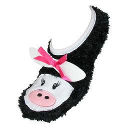 Black Cow Slipper Socks