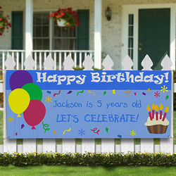 Balloons & Cupcake Personalized Birthday Party Banner