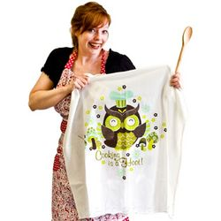 Cooking is a Hoot Flour Sack Towel