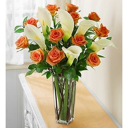Orange Roses and Calla Lilies for Sympathy