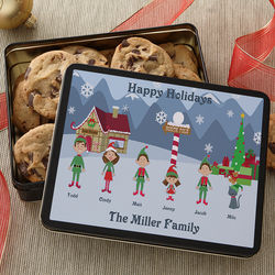 Family Character Personalized Holiday Cookie Tin