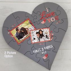 Personalized I Love You Photo Heart Puzzle