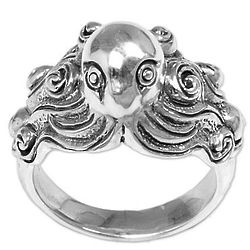 Octopus of the Deep Sterling Silver Cocktail Ring