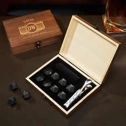 Marquee Diamond Whiskey Stones and Tongs Personalized Gift Set