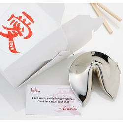 Fortunes of Love Personalized Silver Fortune Cookie