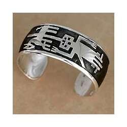 'Mapuche Warrior' Sterling Silver Cuff Bracelet