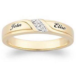 Personalized 18K Gold Plated Diamond Wedding Band
