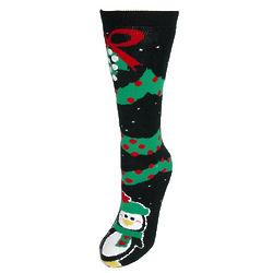 Penguin Misletoe Slipper Socks