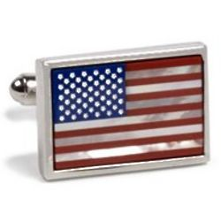 Mother of Pearl and Lapis American Flag Cufflinks