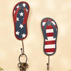 Patriotic Flip Flop Wall Hooks