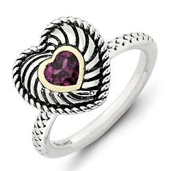 Stackable Pink Garnet Heart Ring