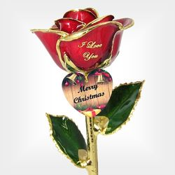 Preserved Christmas Rose with Engraved Heart