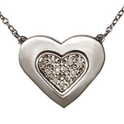 Pave Diamond Petite Heart Necklace