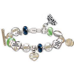 Seahawks Super Bowl XLVIII Swarovski Crystal Charm Bracelet