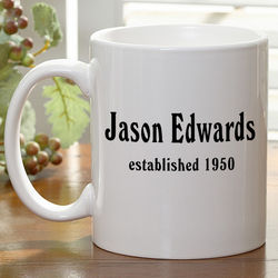Personalized Established Birthday Coffee Mug