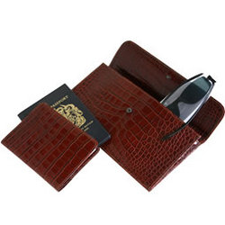 Leather Travel Wallet & Passport Cover Set