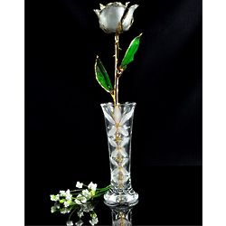 24K Gold Trimmed Silver Moonstone Rose with Crystal Vase