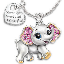 Granddaughter, Never Forget I Love You Engraved Elephant Pendant
