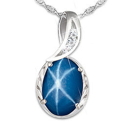 Created Star Sapphire Pendant with 3 White Topaz Stones