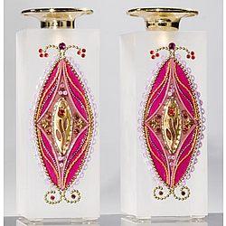 Bat Mitzvah Crystal Candle Holder Set