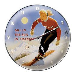 Sunny France Ski Clock
