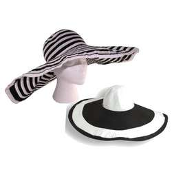 Black & White Extra Large Brim Women's Sun Hat