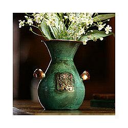 'Messenger with Llama' Copper Vase